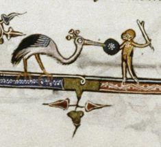 Monkey battling a stork MS. Douce Psalter made for Joffroy d'Aspremont and his wife. Medieval Manuscript, Stork, Monkey, Ms, Battle, France, Jumpsuit, Monkeys, At Sign
