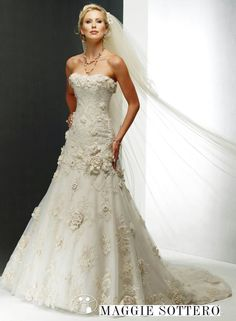 Sexy A Line Strapless Appliques Lace Up Flowers Wedding Dress