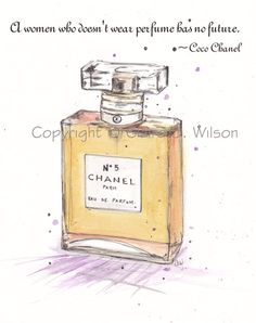 Chanel No 5 with Coco Chanel Quote  Art Print by claireswilson, $20.00
