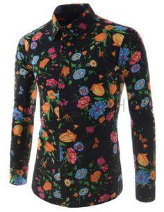 (CEL51-BLACK) Mens Stylish Colorful Flower Print Slim Fit Stretchy Long Sleeve Shirts