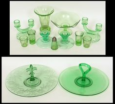 379.jpg (600×545) ( from Pinterest)( examples of colors, styles and pieces of green depression ware glass)