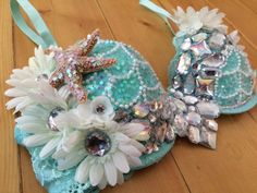 This gorgeous mermaid bra is available premade in a 34C and can be customized in any way/ matching bottoms and headband can be made upon