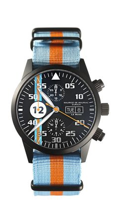 Watch Maurice de Mauriac - Le Mans Racing Chronograp Blue Orange Strap
