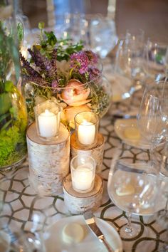birch, candles and flowers