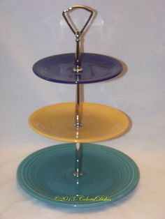 Vintage-Fiesta-3-Tiered-Tidbit-Tray-Set-Turquoise- & Fiesta Fiestaware Cake Stand - Display Stand - Cake Plate ...