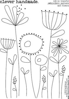 Clever Handmade - Modern Flowers embroidery pattern - can easily be adapted with comma strokes and because of the modern feel, it does't matter if your liner brush skills aren't perfect yet!