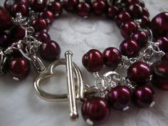 FREE SHIPPING Sterling Silver Clustered Red Pearl by josoriginals, $110.00