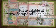 2-page scrapbook kit includes all materials and instructions.  Flowers, chipboard, doilies and more!    Visit Scrap & Bean for more kits.