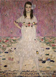 Mada Primavesi (1903-2000) de 1912   Gustav Klimt (Áustria, 1862-1918)   Óleo sobre tela   Assinado (inferior direita): GVSTAV /  KLIMT  http://www.metmuseum.org/toah/works-of-art/64.148 ? presente de André e Clara Mertens, em memória de sua mãe, Jenny Pulitzer Steiner , 1964 (64.148)