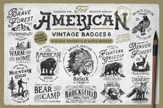 "AMERICAN VINTAGE BADGES PART SIX by Opus Nigrum Inspired by classic American designs of the century comes a new pack of ""American Vintage Badges"". With different quotes about life and power of nature. Create your own badge or logo with a vintage touch. What you get? 13 American Vintage Badges BLACK (Ai) (EPS) CS3 + 13 American Vintage Badges WHITE"