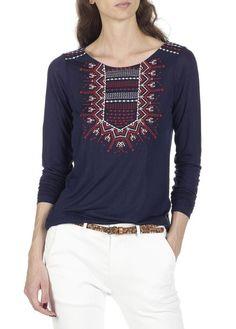 Tee-shirt manches longues brodé Manju Bleu by EKYOG