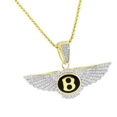 Luxury Bentley Car Logo Pendant Chain Gold Over 925 Silver