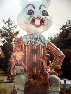 Now why does this rabbit's face look like he's about to vomit on the kids?
