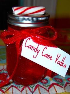 Candy-cane vodka! How did I spent 4 years of college without knowing this genius combination, candy and vodka? The two were major staples in my diet– why did I never think of combining them? It all seems so obvious! So easy… Take a cup of sugar candy. Soak for two days in a Mason Jar filled with   vodka.