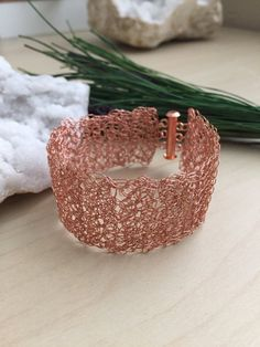 Wire Crochet Cuff Copper bracelet Lacy Delicate wire Modern Mesh Bridal Birthday Wedding Christmas Gift for her under 100 Girlwiththepearl