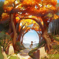 Work by . Concept Art Landscape, Fantasy Landscape, Landscape Art, Fantasy Art, Forest Illustration, Digital Illustration, Environment Design, Environment Concept, Sketch Manga