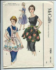 mccall's pattern #250 | McCalls Vintage Pattern 1930 50s 1904 One Sz Half Apron Full Scalloped ...