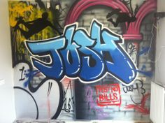 children / teen / Kids Bedroom Graffiti mural - #handpainted #graffiti #featurewall #design #graffitibedroom #interior #design #abstract #bedroommural #boysbedroom #bedroomideas #handpainted #bedroom