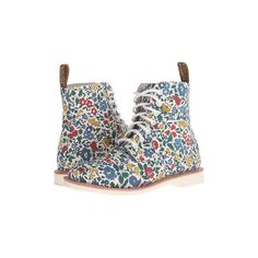 Dr. Martens Evan (Blue/Cherry Red/Green) Women's Boots ($50) ❤ liked on Polyvore featuring shoes, boots, green shoes, floral print shoes, floral shoes, short heel boots and dr martens boots