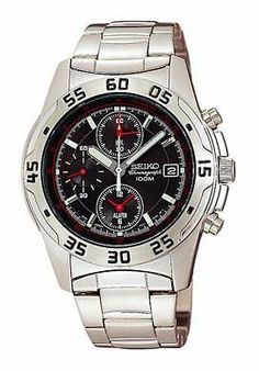 Seiko Men's SNA273 Alarm Chronograph Watch Seiko. $150.00. Quality Japanese-Quartz movement. Water-resistant to 330 feet (100 M). Stainless-steel case; Black-with-red-tachymeter dial; Chronograph functions. Hardlex crystal. Save 44% Off!