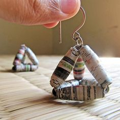 Recycled newspaper bead earrings!