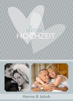 Einladung zur silbernen Hochzeit, in der man Hochzeitsfoto und ein aktuelles Foto abbilden kann. #Hochzeitspapeterie #einladungskarten #silberhochzeit