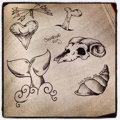Ram, shark tooth, snail, bones, arrows tattoo Cherrybomb arts and tattoo