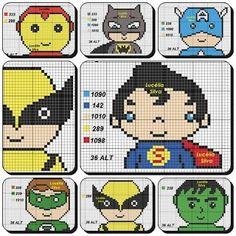 Cross Stitch Family, Cross Stitch Baby, Cross Stitch Charts, Cross Stitch Patterns, Pony Bead Patterns, Beading Patterns, Avengers, C2c Crochet, Pony Beads