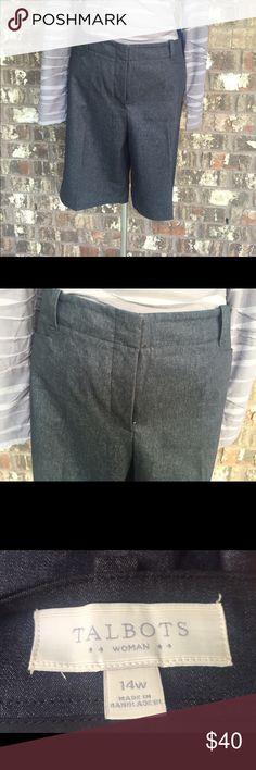 "Talbots dressy denim Bermuda shorts New without tags! Talbots Bermuda shorts that are a thin, dressy denim material. Easy to dress up or down! Size 14W. Length 20.5"" with inseam 12"". Talbots Shorts Bermudas"