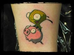 i would love an invader zim theme tat, though i can't decide between gir or zim