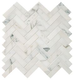 Polished Calacatta Herringbone Mosaic Tile - traditional - Wall And Floor Tile - Earth Elements Design Center