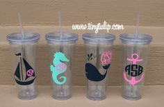 tinytulip.com - Monogrammed Nautical Decal Cups  , $20.00 (http://www.tinytulip.com/monogrammed-nautical-decal-cups)