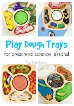 Create play dough science trays for preschoolers to learn through play! Indoor Activities For Toddlers, Kindergarten Learning, Preschool Learning Activities, Preschool Science, Science For Kids, Playdough Activities, Preschool Centers, Dramatic Play Centers, Apple Theme