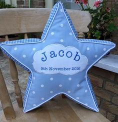 Baby pillow personalised new baby gift star pillow by RectoryLane