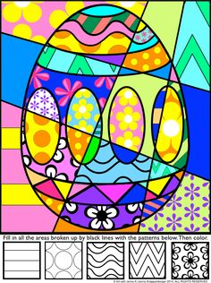 "Students add bold patterns to my ""pop art"" Easter designs and then color their pictures to produce a fun, eye-catching, ""Pop Art""-styled Easter picture!"