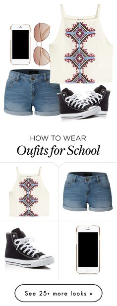 """School day"" by melw44 on Polyvore featuring LE3NO, H&M, Converse and Moschino"