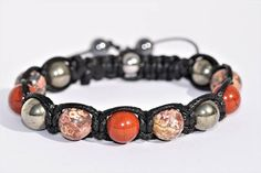 Bracelet  pour homme pierre de Gemmes Pyrite Jaspe Crane, Beaded Bracelets, Etsy, Jewelry, Fashion, Jasper, Male Jewelry, Man Bracelet, Skull