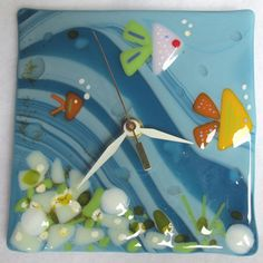 Fused Glass Wall Clock by kathyfickdesigns on Etsy