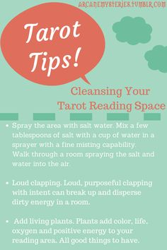 Arcane Mysteries (Tarot Tips: Cleansing Your Tarot Reading Space.) Tarot Tips http://arcanemysteries.tumblr.com/