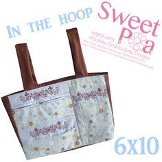 Walker butterfly bag 6x10 in the hoop machine embroidery design | Sweet Pea Machine Embroidery Designs