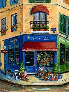 French Flower Shop - Painting by Marilyn Dunlap