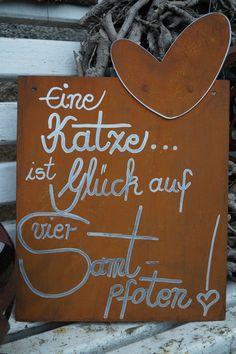 °^°Edelrost Tafel Samtpfote°^°Spruch Garten Metall Tafel Rost Schild Text Katze