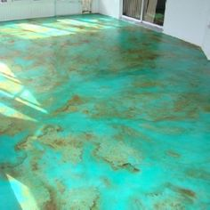 Turquoise concrete stain, I think this would be perfect!!!