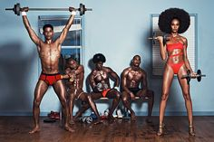 Joan Smalls shows the guys how it's done at the gym in her latest editorial for the new issue of Industrie Magazine.  Joan stars in 'Personal Trainer' modelling custom swimsuits by Adam Selman, photographed by Lachlan Bailey
