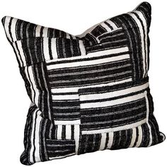 Hand-stitched Black And White Striped Patchwork Cushion ($1,008) ❤ liked on Polyvore featuring home, home decor, throw pillows, white, stripe throw pillows, black white accent pillows, black and white home accessories, black and white accent pillows and black and white toss pillows