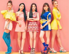 Seulgi, Yeri, Irene, Wendy and Joy, (Red Velvet). Kpop Girl Groups, Korean Girl Groups, Kpop Girls, Red Velvet Seulgi, Red Velvet Irene, Red Velvet Photoshoot, Red Velet, Park Sooyoung, Stage Outfits