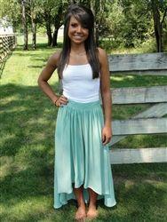 Mint hi-low hem skirt