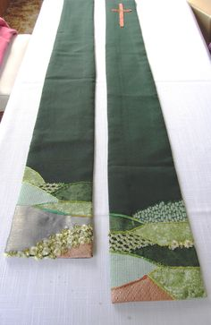 Helen's green stole. Embroidery & applique on polyester fabric.