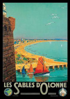 Bid now on Invaluable: Les Sables d'Olonne vers 1930 from Mirabaud-Mercier on April 4, 0121 2:00 PM CEST. The Saleroom, April 4th, Poster On, Vintage Posters, France, Paris, Paths, Iron, Poster Vintage