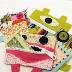 Fabric Gift Card Holder Pockets with Button Eyes- Rosieday. $8.00, via Etsy.